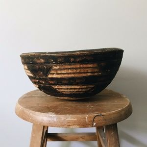 Antique African Ethnic Hand-Carved Wood Milk Bowl